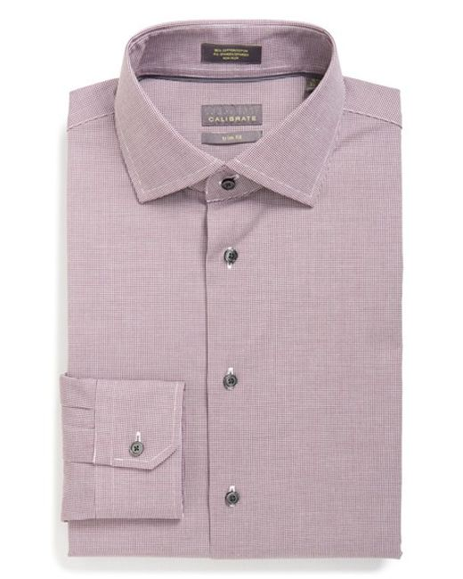calibrate trim fit non iron check dress shirt in purple