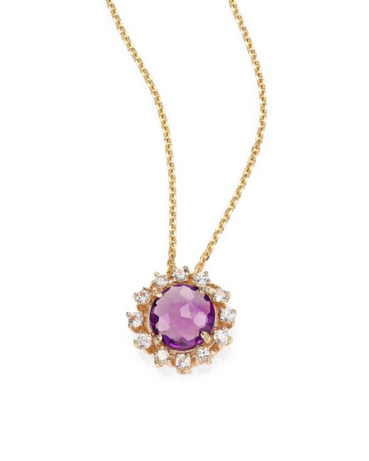 KALAN by Suzanne Kalan | Purple Amethyst, White Sapphire & 14k Yellow Gold Starburst Pendant Necklace | Lyst