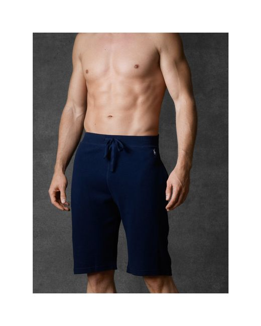 Polo Ralph Lauren Waffle Knit Pajama Short In Blue For Men