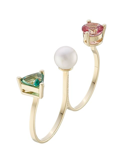 Delfina Delettrez | Metallic 9k Gold Ring With Topaz And Pearl | Lyst