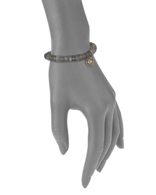 Sydney Evan | Blue Diamond, Sapphire, Grey Moonstone & 14k Yellow Gold Evil Eye Beaded Stretch Bracelet | Lyst