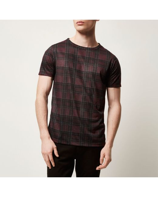 River island dark red plaid check t shirt in red for men for Dark red plaid shirt