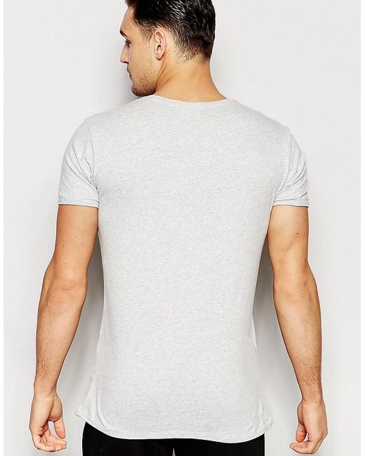 Diesel V-neck T-shirt In Regular Fit Stretch Cotton in White for Men (Grey) | Lyst