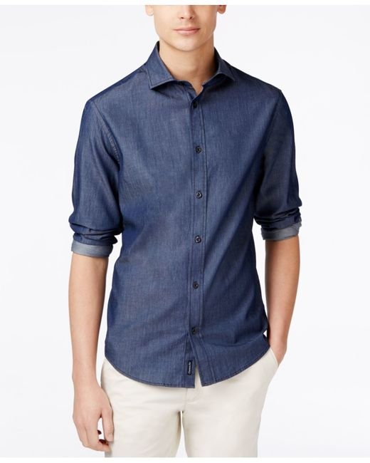 Armani Jeans Men 39 S Camicia Denim Long Sleeve Shirt In Blue