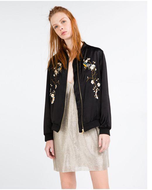 Zara floral embroidered bomber jacket in black lyst