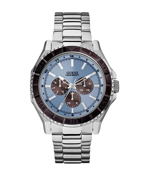 Guess W0479g2 Unplugged Stainless Steel Watch In Silver