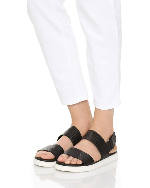 Vince Brennen Two Band Sandals In Black Save 40 Lyst