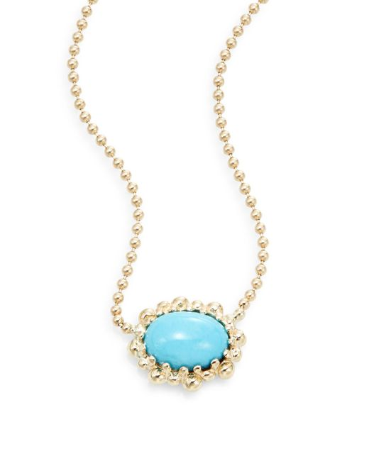 Anzie | Blue Dew Drop Turquoise & 14k Yellow Gold Pendant Necklace | Lyst