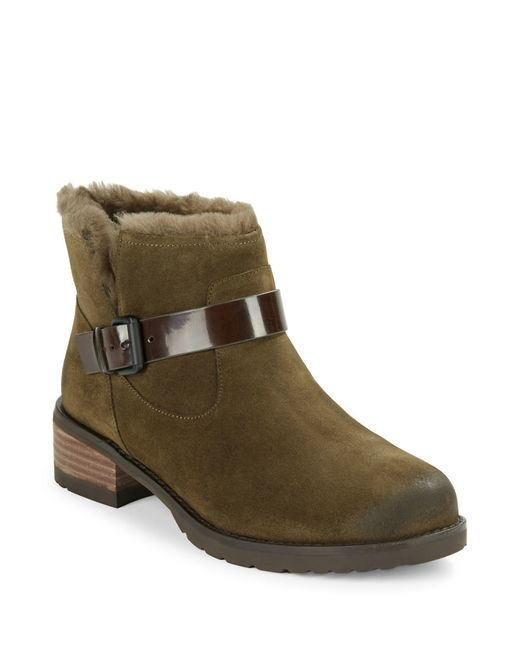 elie tahari martini fur lined suede boots in green olive