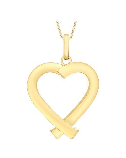 Ib&b | Metallic 9ct Yellow Gold Triangular Tube Heart Pendant | Lyst