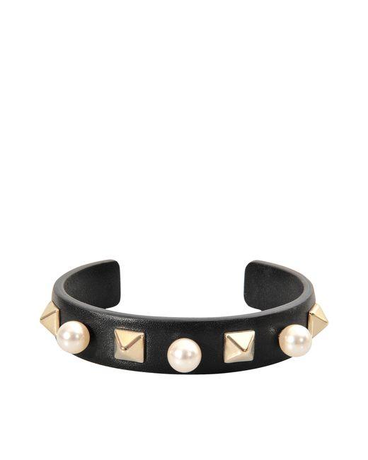 Valentino | Black Rockstuds Leather Pearl Bracelet | Lyst