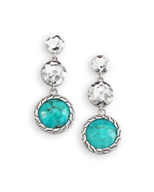 John Hardy | Metallic Palu Turquoise & Sterling Silver Matrix Drop Earrings | Lyst