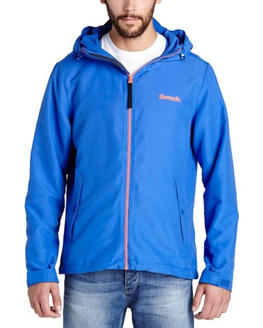 bench interrelate waterproof hooded jacket in blue for