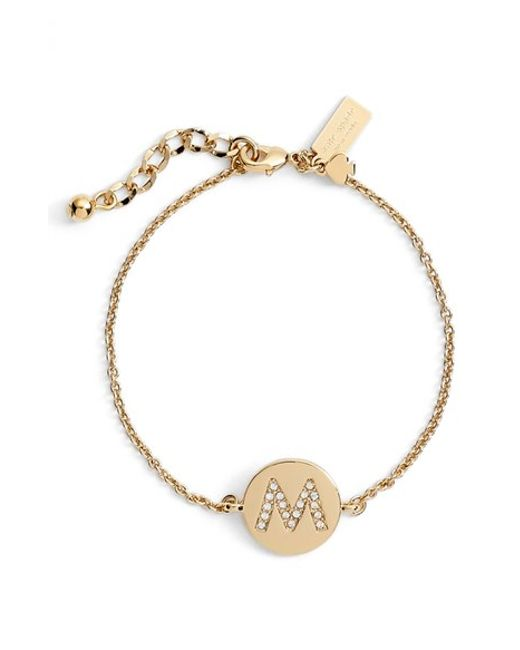 kate spade new york | Metallic 'north Court' Pave Initial Charm Bracelet | Lyst