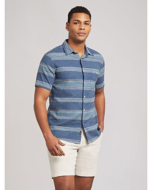 Faherty Brand Blue The Short-sleeve Breeze Shirt for men