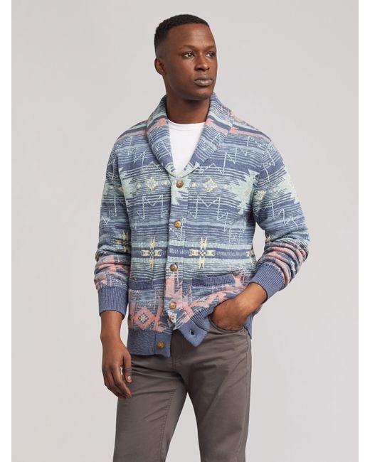 Faherty Brand Blue Heritage Motif Cardigan for men