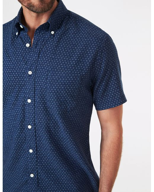Faherty Brand Blue Short-sleeve Everyday Button-down Shirt for men