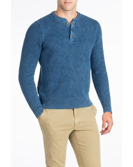 Faherty brand Waffle Henley Jumper in Blue for Men