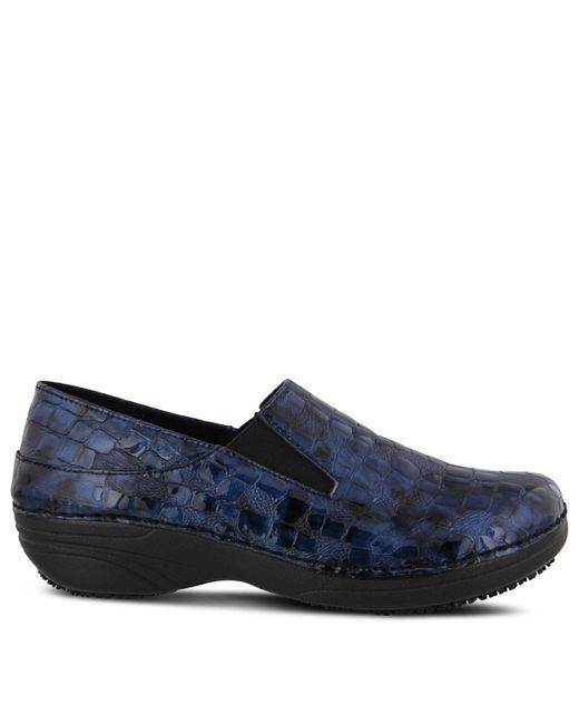Spring Step Blue Manila Slip Resistant Slip On Shoes