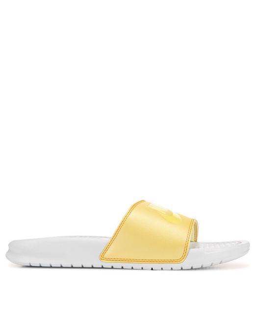 Nike White Benassi Jdi Swoosh Slide Sandals From Finish Line