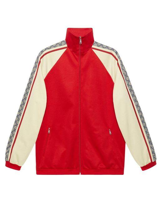 メンズ Gucci オーバーサイズ テクニカルジャージー ジャケット Red