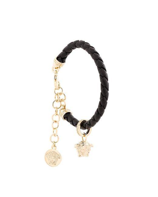 Versace Black Woven Medusa Charm Bracelet