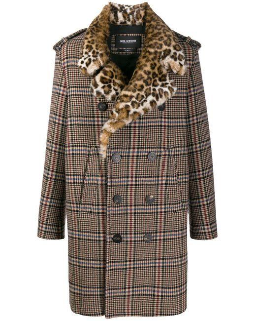 Neil Barrett Karierter Mantel mit Leoparden-Revers in Multicolor für Herren