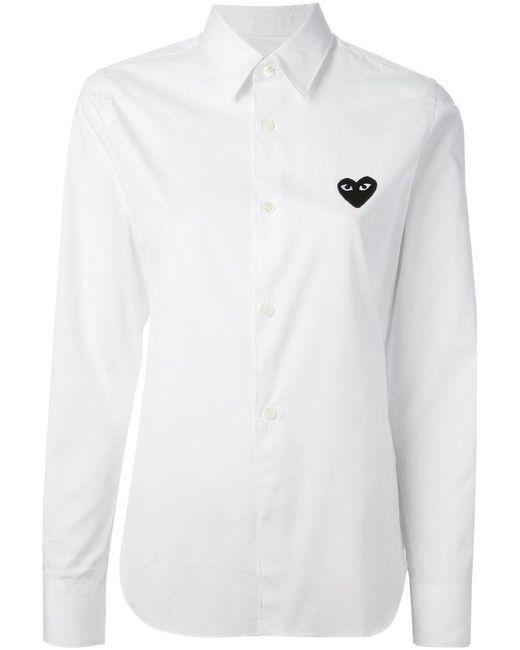 Play Comme des Garçons - White - Embroidered Heart Shirt - Women - Cotton - S - Lyst