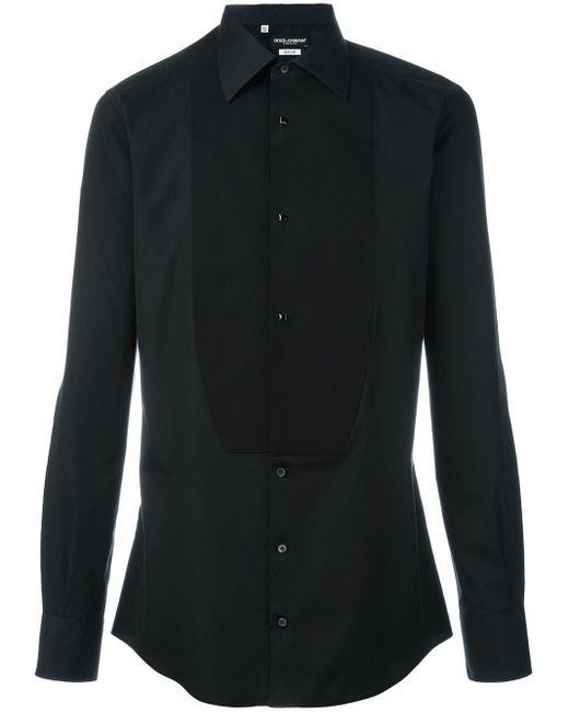 メンズ Dolce & Gabbana ビブフロント シャツ Black