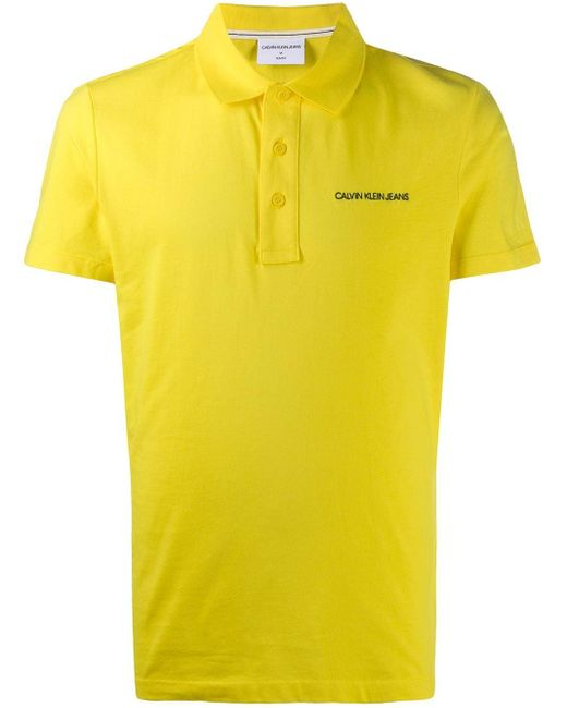 メンズ Calvin Klein ロゴ ポロシャツ Yellow