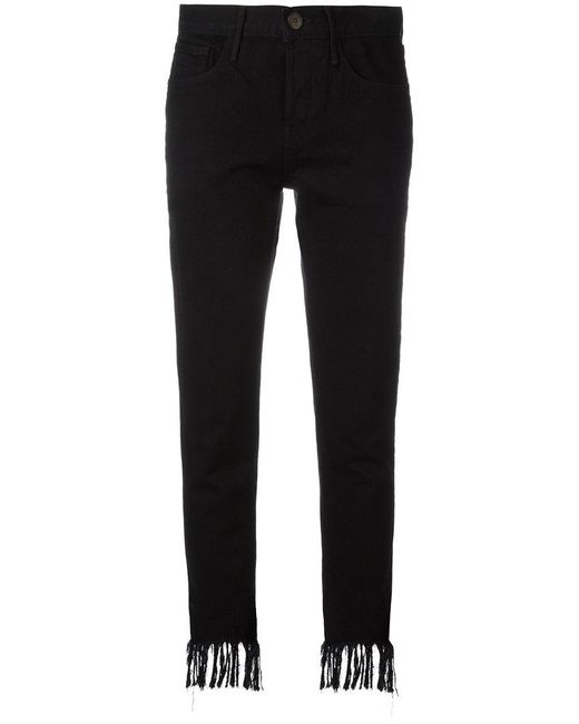 3x1 - Black Frayed Cropped Jeans - Lyst