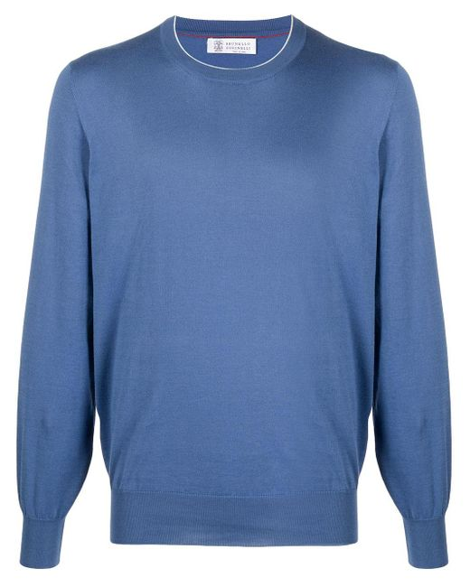 Brunello Cucinelli Blue Crewneck Cotton Sweatshirt for men