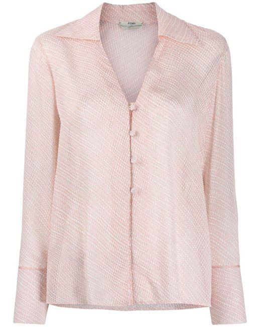 Camisa texturizada con cuello en V Fendi de color Pink