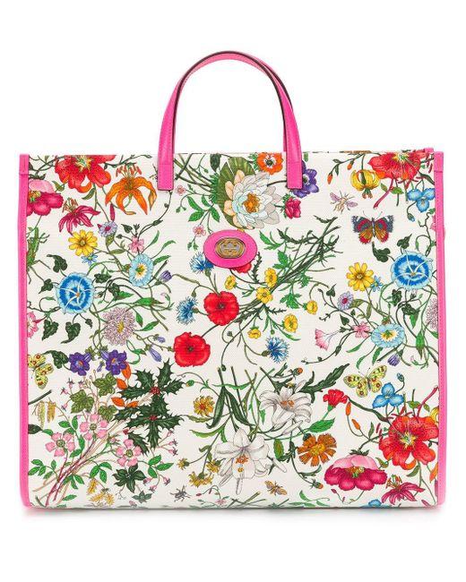 Gucci White Floral Print Tote Bag