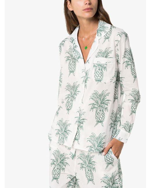 Pijama Howie con estampado de piñas Desmond & Dempsey de color White
