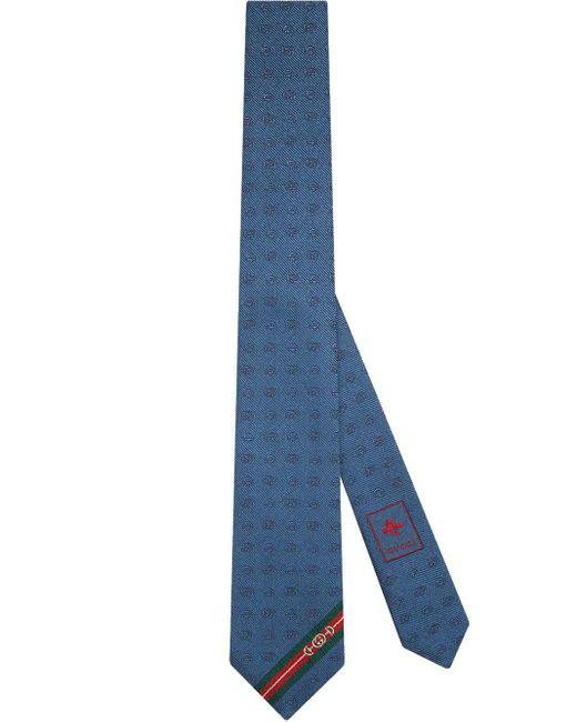 メンズ Gucci 【公式】 (グッチ)ダブルg &ホースビット ジャカード シルク ネクタイブルー ダブルg &ホースビット ジャカードブルー Blue