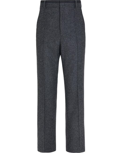 メンズ Fendi ツイード テーラードパンツ Gray