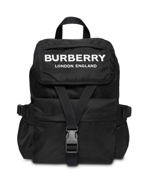 Burberry Wilfin ラージ ロゴナイロンバックパック Black