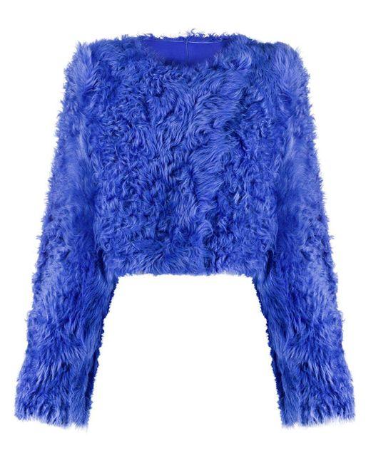 Off-White c/o Virgil Abloh Blue Cropped Fur Jacket