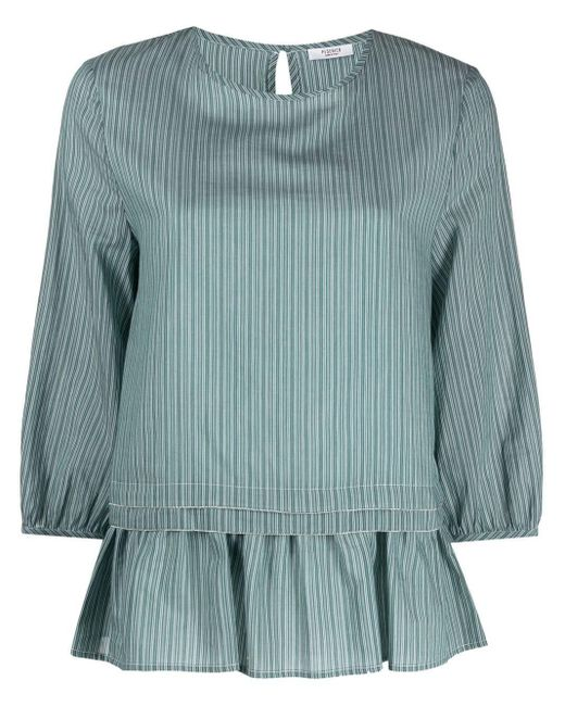 Peserico Blue Striped Layered Blouse