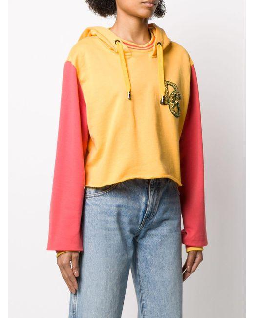 Dolce & Gabbana コントラストスリーブ パーカー Yellow