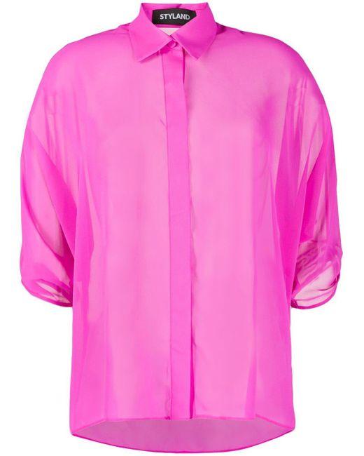 Styland ドレープスリーブ シャツ Pink