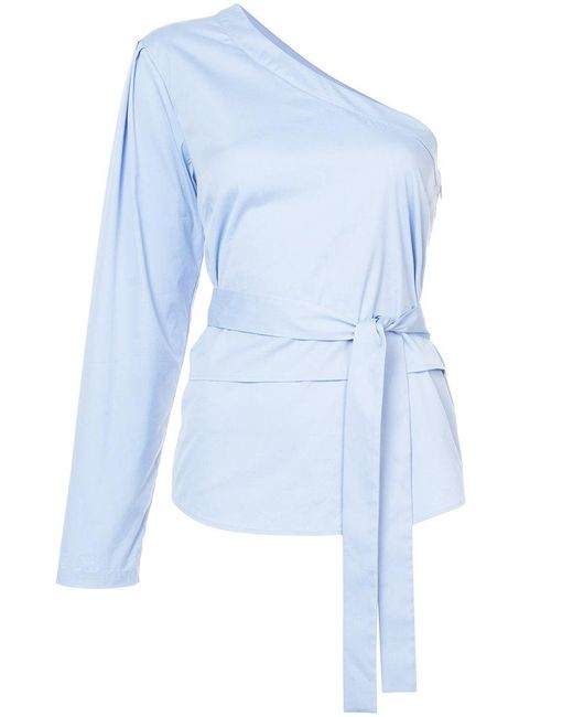 TOME - Blue One Shoulder Top With Sleeve And Belt Tie - Lyst
