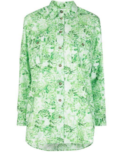 Ganni Camisa de popelina con estampado de rosas de mujer de color verde