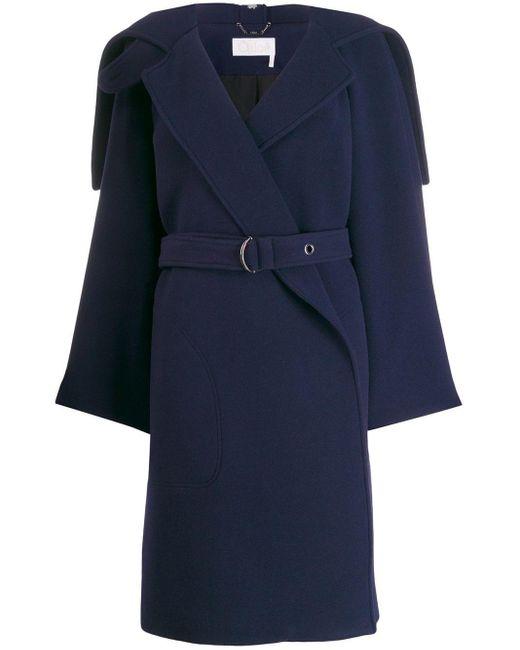 Chloé ベルテッドコート Blue