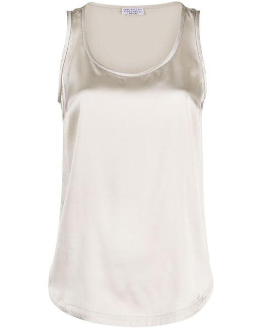 Атласный Топ Без Рукавов Brunello Cucinelli, цвет: White