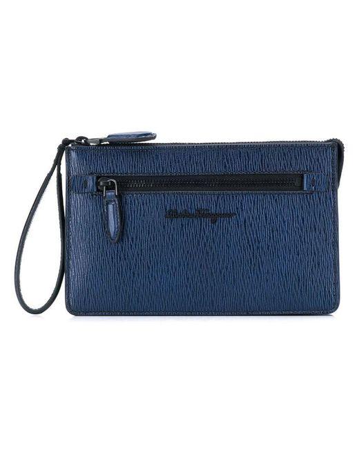 74b651c23293 Ferragamo - Blue Textured Clutch for Men - Lyst ...
