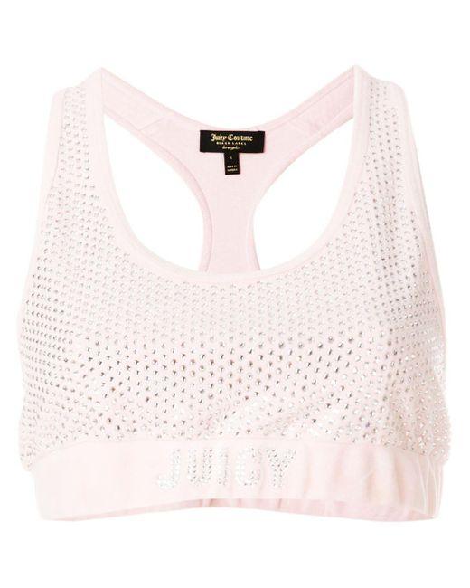 Juicy Couture Pink Swarovski Embellished Velour Crop Top