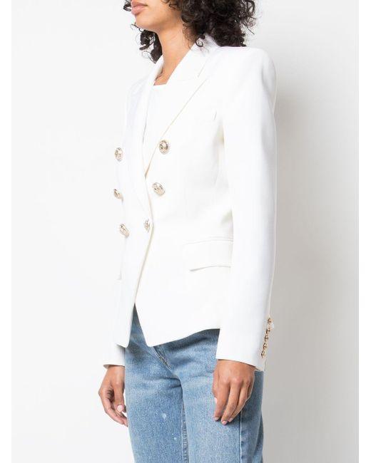 Balmain ピークラペル ジャケット White