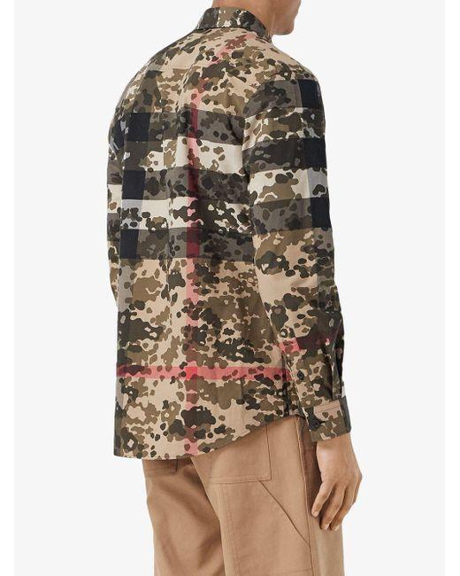 メンズ Burberry カモフラージュ チェック シャツ Multicolor
